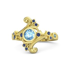 Round Blue Topaz 14K Yellow Gold Ring with Blue Sapphire and London Blue Topaz