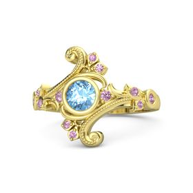 Round Blue Topaz 14K Yellow Gold Ring with Pink Tourmaline