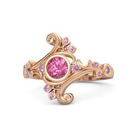 Round Pink Tourmaline 18K Rose Gold Ring with Pink Tourmaline and Pink Sapphire