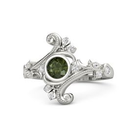 Round Green Tourmaline 18K White Gold Ring with White Sapphire