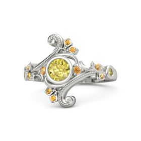 Round Yellow Sapphire 18K White Gold Ring with Citrine and Yellow Sapphire