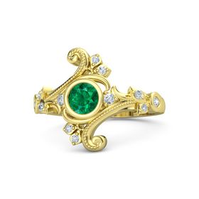 Round Emerald 18K Yellow Gold Ring with Diamond