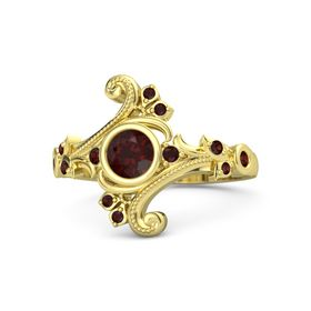 Round Red Garnet 18K Yellow Gold Ring with Red Garnet