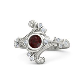 Round Red Garnet Palladium Ring with Diamond
