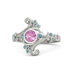 Round Pink Sapphire Palladium Ring with London Blue Topaz and Pink Tourmaline