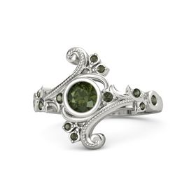 Round Green Tourmaline Palladium Ring with Green Tourmaline