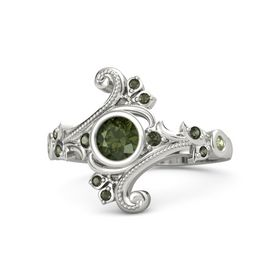 Round Green Tourmaline Palladium Ring with Green Tourmaline and Peridot