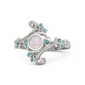 Round Rose Quartz Palladium Ring with London Blue Topaz and Aquamarine