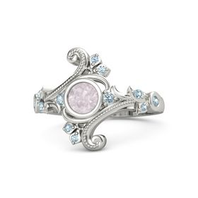 Round Rose Quartz Palladium Ring with Aquamarine