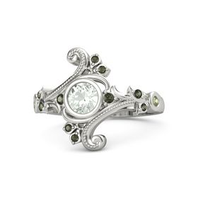 Round Green Amethyst Palladium Ring with Green Tourmaline and Peridot
