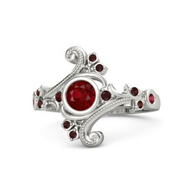 Round Ruby Palladium Ring with Red Garnet and Ruby
