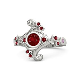 Round Ruby Palladium Ring with Ruby and Pink Tourmaline