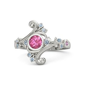 Round Pink Tourmaline Palladium Ring with Blue Topaz and Pink Tourmaline