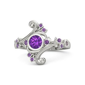 Round Amethyst Platinum Ring with Amethyst and Rhodolite Garnet