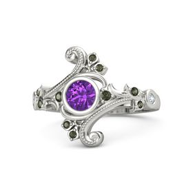 Round Amethyst Platinum Ring with Green Tourmaline and Diamond