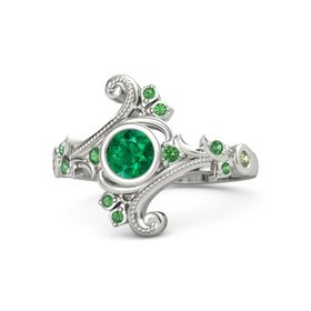 Round Emerald Platinum Ring with Emerald and Peridot
