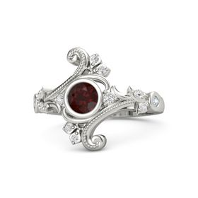Round Red Garnet Platinum Ring with White Sapphire and Diamond