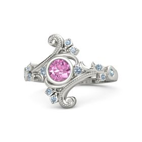 Round Pink Sapphire Platinum Ring with Blue Topaz and Aquamarine