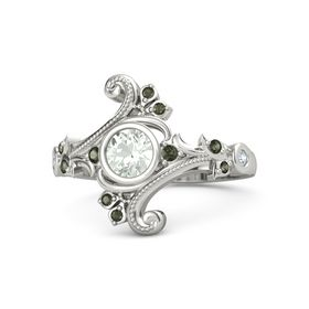 Round Green Amethyst Platinum Ring with Green Tourmaline and Diamond