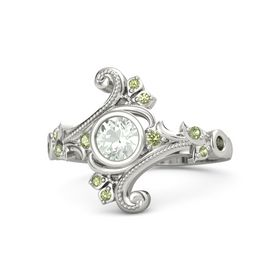 Round Green Amethyst Platinum Ring with Peridot and Green Tourmaline