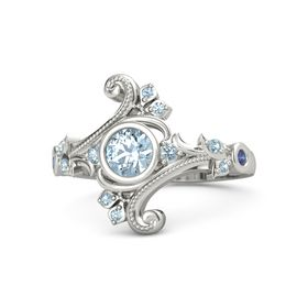 Round Aquamarine Platinum Ring with Aquamarine and Blue Sapphire