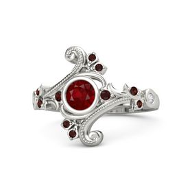 Round Ruby Platinum Ring with Red Garnet and White Sapphire