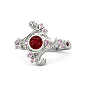 Round Ruby Platinum Ring with Pink Sapphire and Red Garnet