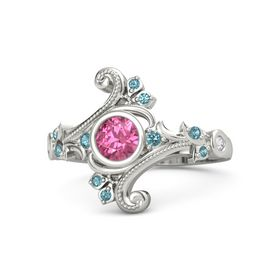 Round Pink Tourmaline Platinum Ring with London Blue Topaz and White Sapphire