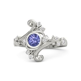 Round Tanzanite Platinum Ring with White Sapphire