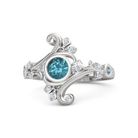 Round London Blue Topaz Sterling Silver Ring with Diamond and London Blue Topaz