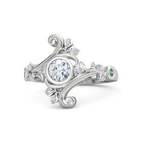Round Diamond Sterling Silver Ring with Diamond and Emerald