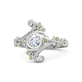 Round Diamond Sterling Silver Ring with Peridot