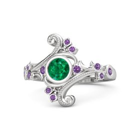 Round Emerald Sterling Silver Ring with Amethyst