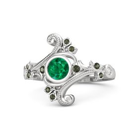 Round Emerald Sterling Silver Ring with Green Tourmaline and White Sapphire
