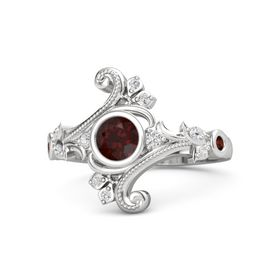 Round Red Garnet Sterling Silver Ring with White Sapphire and Red Garnet