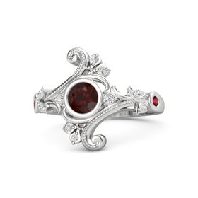 Round Red Garnet Sterling Silver Ring with White Sapphire and Ruby