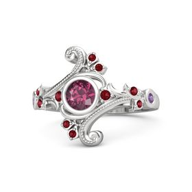 Round Rhodolite Garnet Sterling Silver Ring with Ruby and Amethyst