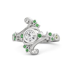 Round White Sapphire Sterling Silver Ring with Emerald and Peridot