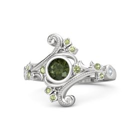 Round Green Tourmaline Sterling Silver Ring with Peridot and Diamond