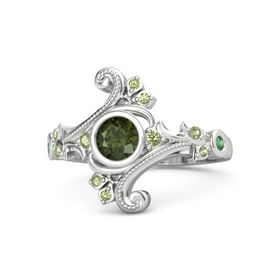 Round Green Tourmaline Sterling Silver Ring with Peridot and Emerald