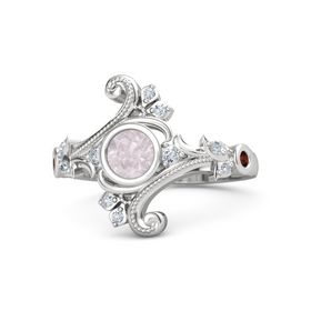 Round Rose Quartz Sterling Silver Ring with Diamond and Red Garnet