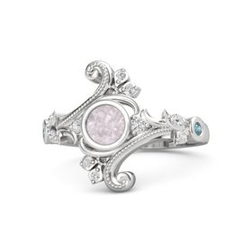 Round Rose Quartz Sterling Silver Ring with White Sapphire and London Blue Topaz