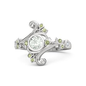 Round Green Amethyst Sterling Silver Ring with Peridot and Diamond