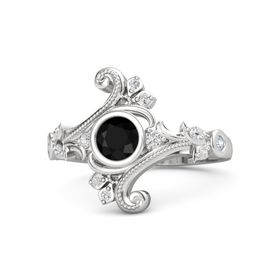 Round Black Onyx Sterling Silver Ring with White Sapphire and Diamond