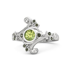 Round Peridot Sterling Silver Ring with Green Tourmaline and White Sapphire