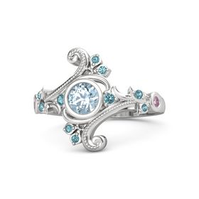 Round Aquamarine Sterling Silver Ring with London Blue Topaz and Pink Sapphire