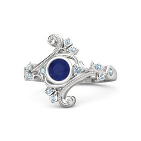 Round Blue Sapphire Sterling Silver Ring with Aquamarine