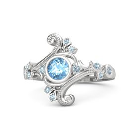 Round Blue Topaz Sterling Silver Ring with Aquamarine and Blue Topaz