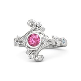 Round Pink Tourmaline Sterling Silver Ring with White Sapphire and Aquamarine