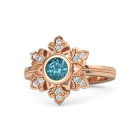Round London Blue Topaz 14K Rose Gold Ring with Aquamarine & White Sapphire